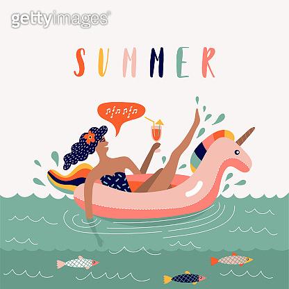 Summer beach cartoon illustration