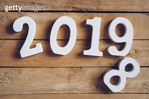 2019 on wooden table