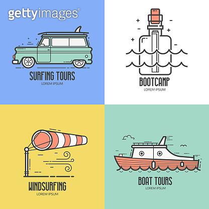 Summer sea travel icons