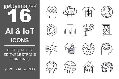 AI & IoT icon set