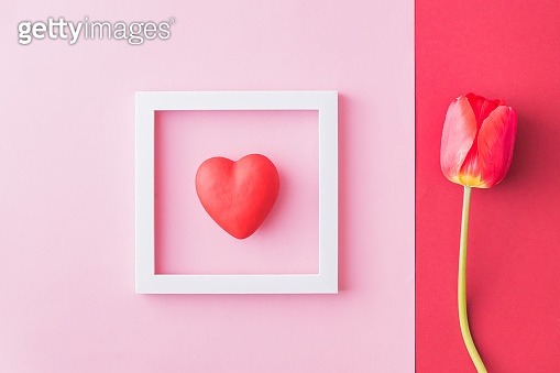 Red tulips and hearts