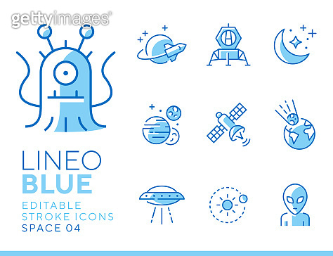 Line icon set - space