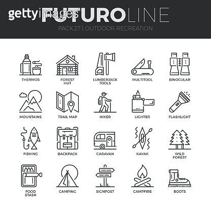 Futuro line icon set
