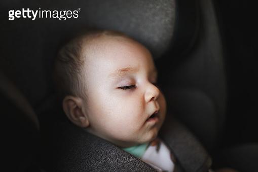 Baby sleeping in car