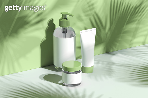 Cosmetic mock-up with leaf shadow