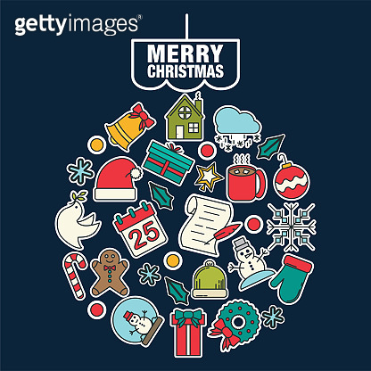 'Merry Christmas' Design with Line Icons