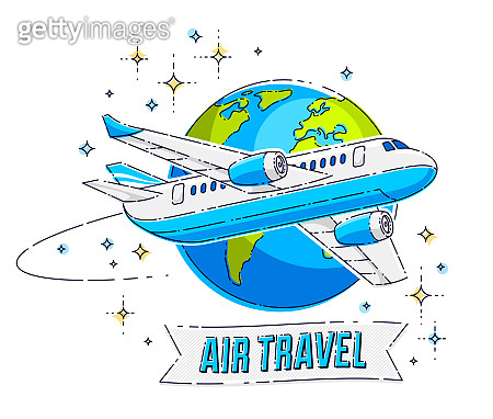 Plane airliner with earth planet