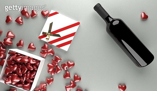 Valentine day chocolate & wine