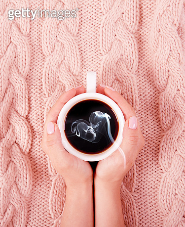 Warm coffee in cold weather