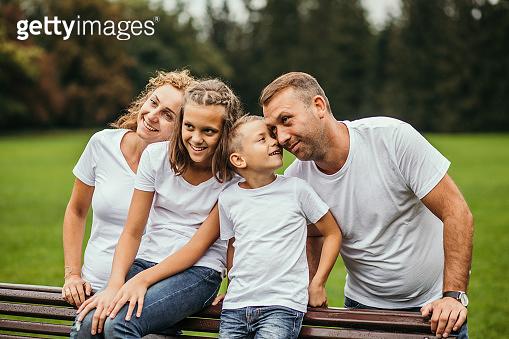 Carefree family having fun