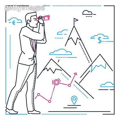 Business concept line design style illustration
