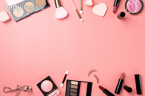 Make up cosmetic flat lay top view