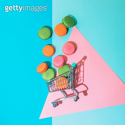 Macaroons on colorful background