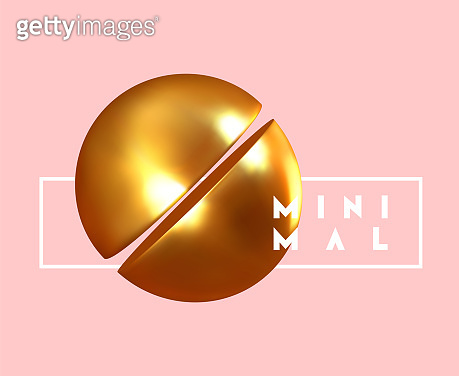 Geometric background with gold ball and spheres