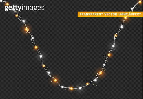 Christmas lights isolated realistic design elements
