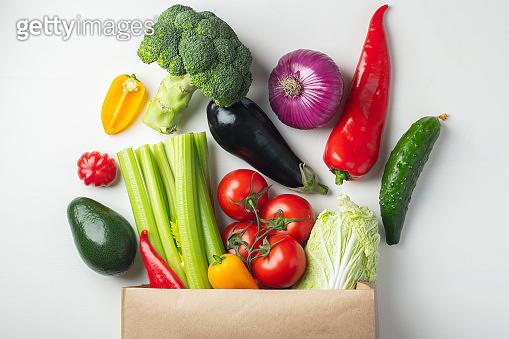 Paper bag of healthy food