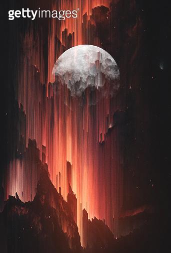 Surreal Art Poster of Rising Moon