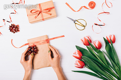 Gift box and flower