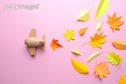 Leaves of paper fall red, orange, yellow leaf fall