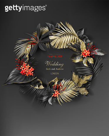 Tropical black and gold leaves