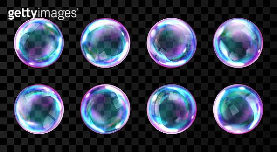 Soap rainbow bubbles