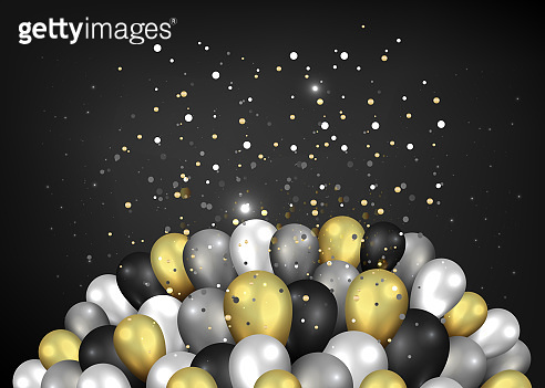 Golden black and silver balloons