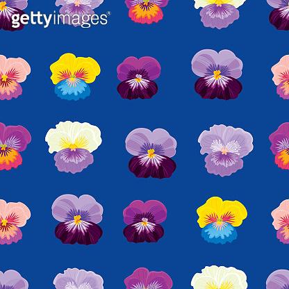 Pansies. Floral seamless pattern
