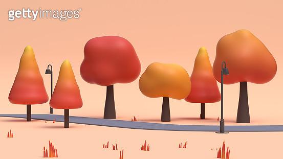3d rendering autumn