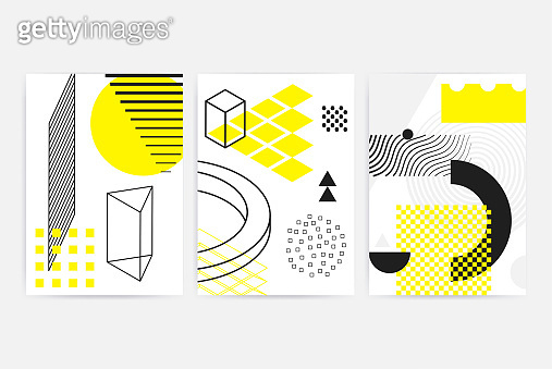 Posters set with geometric elements