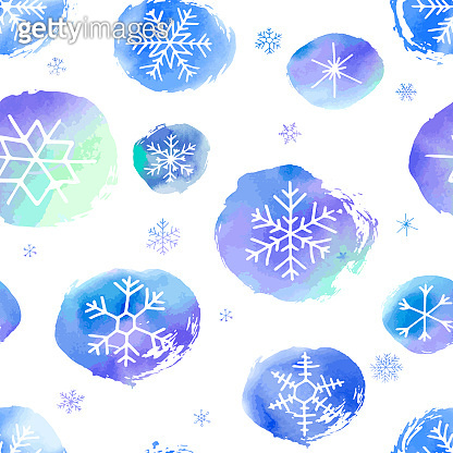 Snowflakes with watercolor texture