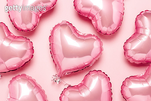 Pink air balloons in the shape of a heart