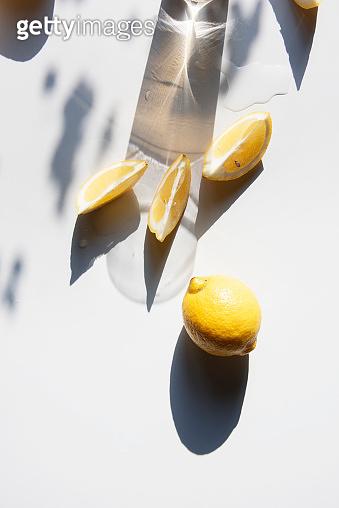 Fresh lemon slices on a table