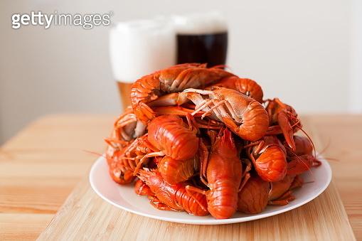 Food. Crawfish, two glasses beer