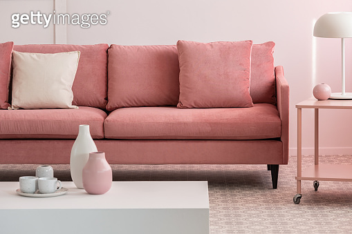 pink living room interior