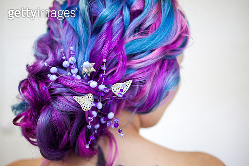 Bright multi-colored hair coloring