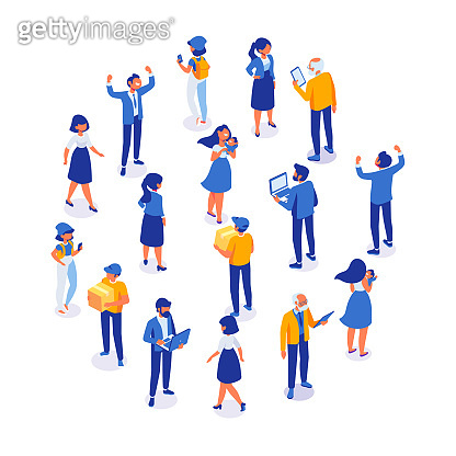 Crowd of people arranged in circle shape