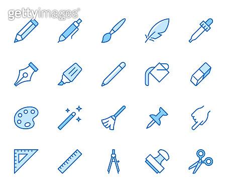 Flat line icons set - blue