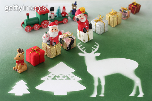 Santa and presents on the background