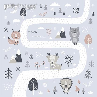 Cute wild animals illustration