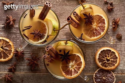 Seasonal pear mulled wine cocktails