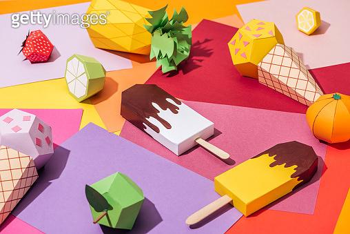 Handmade origami fruits