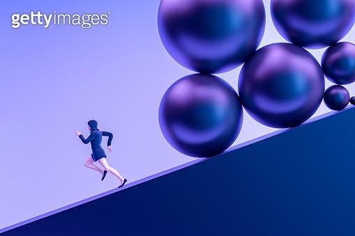 Business woman running away