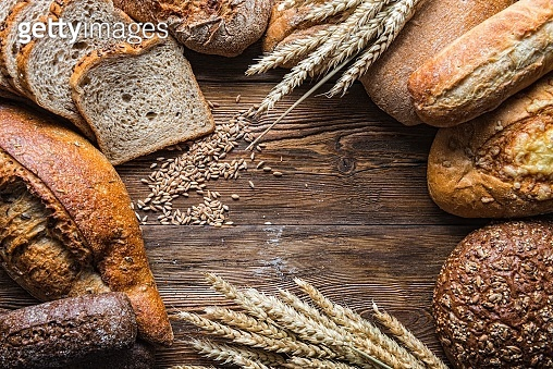 Still life with breads and wheats