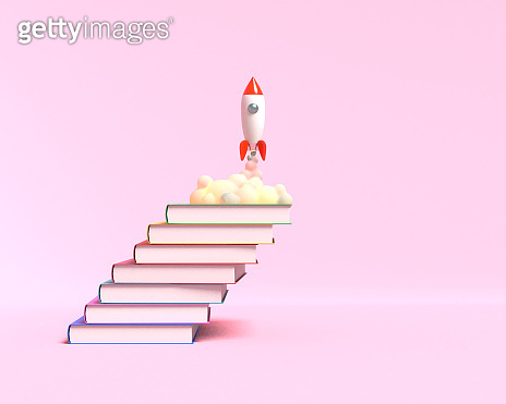 Toy rocket takes off from the books