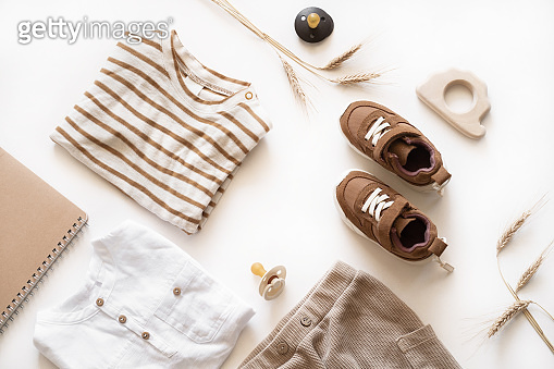 Baby products flat lay