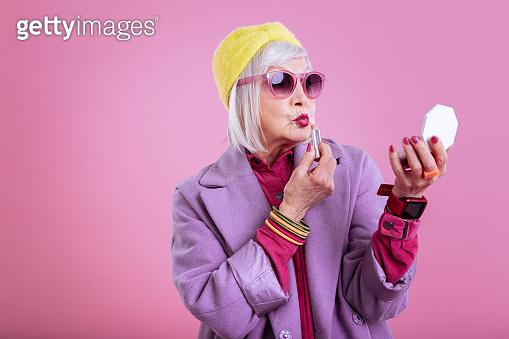 Elderly fashionable lady