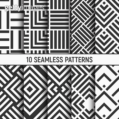 Monochrome circles seamless patterns