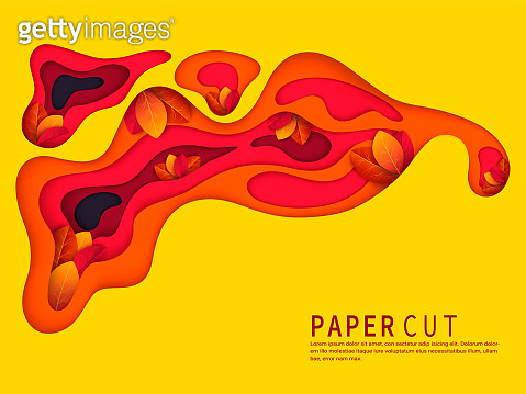 Paper cut with autumn leaves