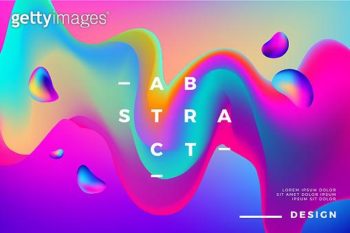 Colorful fluid liquid shapes background