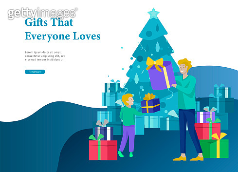 Landing page template greeting card winter Holidays
